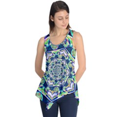 Power Spiral Polygon Blue Green White Sleeveless Tunic by EDDArt