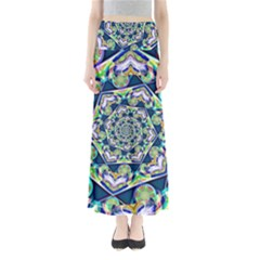 Power Spiral Polygon Blue Green White Maxi Skirts by EDDArt