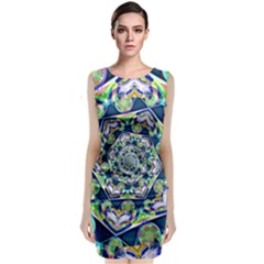 Power Spiral Polygon Blue Green White Classic Sleeveless Midi Dress by EDDArt