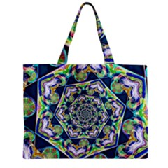 Power Spiral Polygon Blue Green White Medium Zipper Tote Bag by EDDArt