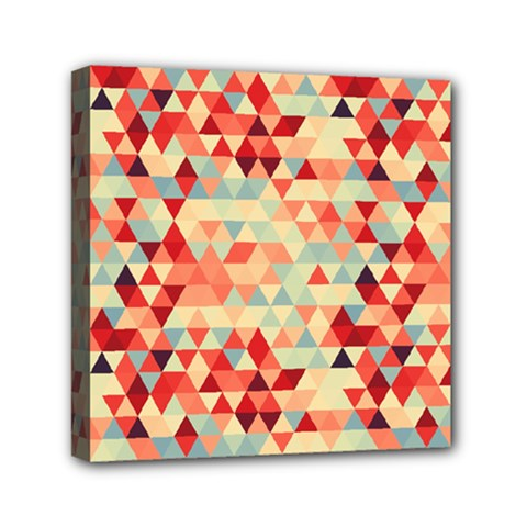 Modern Hipster Triangle Pattern Red Blue Beige Mini Canvas 6  X 6  by EDDArt