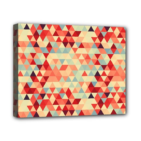 Modern Hipster Triangle Pattern Red Blue Beige Canvas 10  X 8  by EDDArt