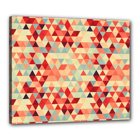 Modern Hipster Triangle Pattern Red Blue Beige Canvas 24  X 20  by EDDArt