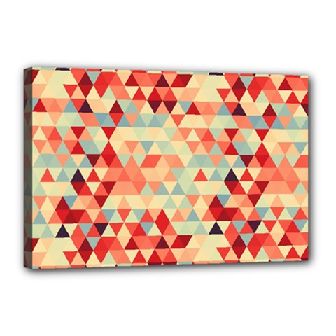 Modern Hipster Triangle Pattern Red Blue Beige Canvas 18  X 12  by EDDArt