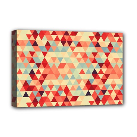 Modern Hipster Triangle Pattern Red Blue Beige Deluxe Canvas 18  X 12   by EDDArt