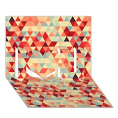 Modern Hipster Triangle Pattern Red Blue Beige I Love You 3d Greeting Card (7x5) by EDDArt