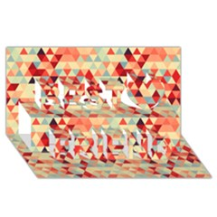 Modern Hipster Triangle Pattern Red Blue Beige Best Friends 3d Greeting Card (8x4)