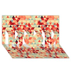 Modern Hipster Triangle Pattern Red Blue Beige Mom 3d Greeting Card (8x4) by EDDArt