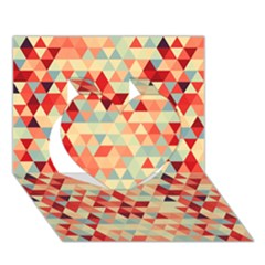 Modern Hipster Triangle Pattern Red Blue Beige Heart 3d Greeting Card (7x5) by EDDArt
