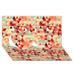 Modern Hipster Triangle Pattern Red Blue Beige Twin Hearts 3d Greeting Card (8x4) by EDDArt