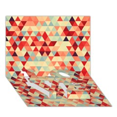 Modern Hipster Triangle Pattern Red Blue Beige Love Bottom 3d Greeting Card (7x5) by EDDArt