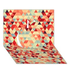 Modern Hipster Triangle Pattern Red Blue Beige Apple 3d Greeting Card (7x5) by EDDArt