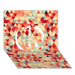 Modern Hipster Triangle Pattern Red Blue Beige Peace Sign 3d Greeting Card (7x5) by EDDArt