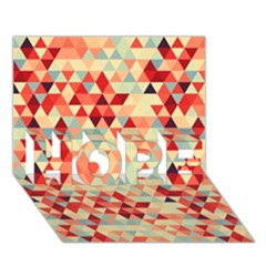 Modern Hipster Triangle Pattern Red Blue Beige Hope 3d Greeting Card (7x5) by EDDArt