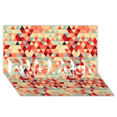 Modern Hipster Triangle Pattern Red Blue Beige Engaged 3d Greeting Card (8x4) by EDDArt