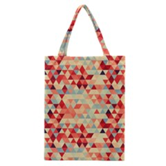 Modern Hipster Triangle Pattern Red Blue Beige Classic Tote Bag by EDDArt