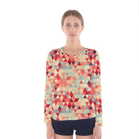 Modern Hipster Triangle Pattern Red Blue Beige Women s Long Sleeve Tee by EDDArt