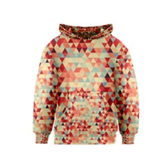 Modern Hipster Triangle Pattern Red Blue Beige Kids  Pullover Hoodie by EDDArt