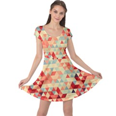 Modern Hipster Triangle Pattern Red Blue Beige Cap Sleeve Dresses by EDDArt