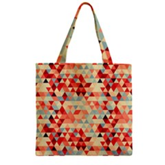 Modern Hipster Triangle Pattern Red Blue Beige Zipper Grocery Tote Bag by EDDArt