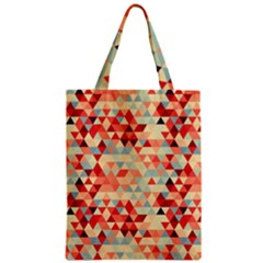 Modern Hipster Triangle Pattern Red Blue Beige Zipper Classic Tote Bag by EDDArt