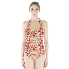 Modern Hipster Triangle Pattern Red Blue Beige Halter Swimsuit by EDDArt