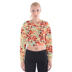 Modern Hipster Triangle Pattern Red Blue Beige Women s Cropped Sweatshirt by EDDArt