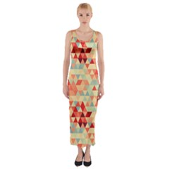 Modern Hipster Triangle Pattern Red Blue Beige Fitted Maxi Dress by EDDArt