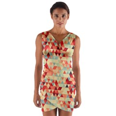 Modern Hipster Triangle Pattern Red Blue Beige Wrap Front Bodycon Dress by EDDArt