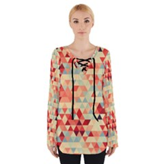Modern Hipster Triangle Pattern Red Blue Beige Women s Tie Up Tee by EDDArt