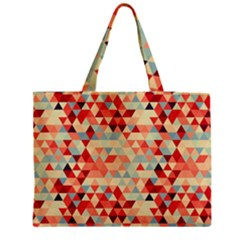 Modern Hipster Triangle Pattern Red Blue Beige Medium Tote Bag by EDDArt