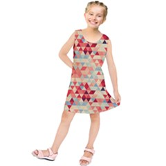 Modern Hipster Triangle Pattern Red Blue Beige Kids  Tunic Dress by EDDArt