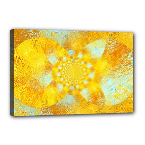 Gold Blue Abstract Blossom Canvas 18  X 12  by designworld65