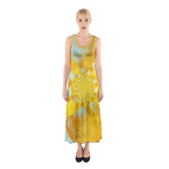 Gold Blue Abstract Blossom Sleeveless Maxi Dress by designworld65