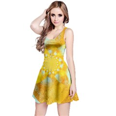 Gold Blue Abstract Blossom Reversible Sleeveless Dress by designworld65