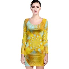 Gold Blue Abstract Blossom Long Sleeve Bodycon Dress by designworld65