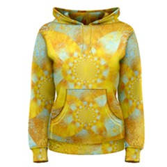 Gold Blue Abstract Blossom Women s Pullover Hoodie by designworld65