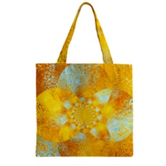 Gold Blue Abstract Blossom Zipper Grocery Tote Bag by designworld65