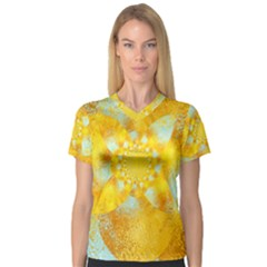 Gold Blue Abstract Blossom Women s V Neck Sport Mesh Tee by designworld65