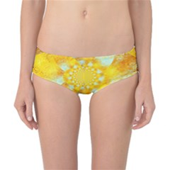 Gold Blue Abstract Blossom Classic Bikini Bottoms by designworld65