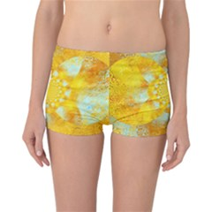 Gold Blue Abstract Blossom Reversible Boyleg Bikini Bottoms by designworld65