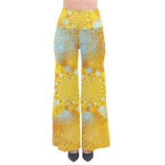 Gold Blue Abstract Blossom Pants by designworld65