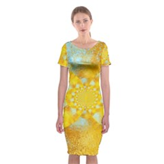 Gold Blue Abstract Blossom Classic Short Sleeve Midi Dress by designworld65
