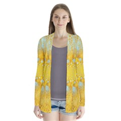 Gold Blue Abstract Blossom Drape Collar Cardigan by designworld65