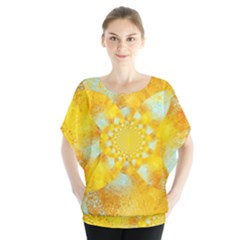Gold Blue Abstract Blossom Blouse by designworld65