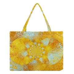 Gold Blue Abstract Blossom Medium Tote Bag by designworld65