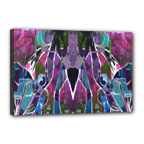 Sly Dog Modern Grunge Style Blue Pink Violet Canvas 18  X 12  by EDDArt