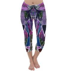 Sly Dog Modern Grunge Style Blue Pink Violet Capri Winter Leggings  by EDDArt