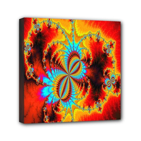 Crazy Mandelbrot Fractal Red Yellow Turquoise Mini Canvas 6  X 6  by EDDArt