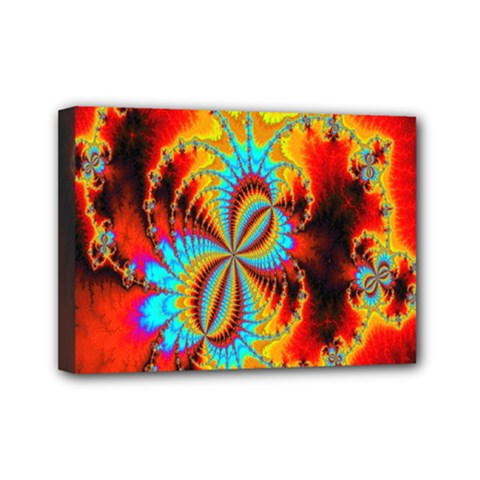 Crazy Mandelbrot Fractal Red Yellow Turquoise Mini Canvas 7  X 5  by EDDArt